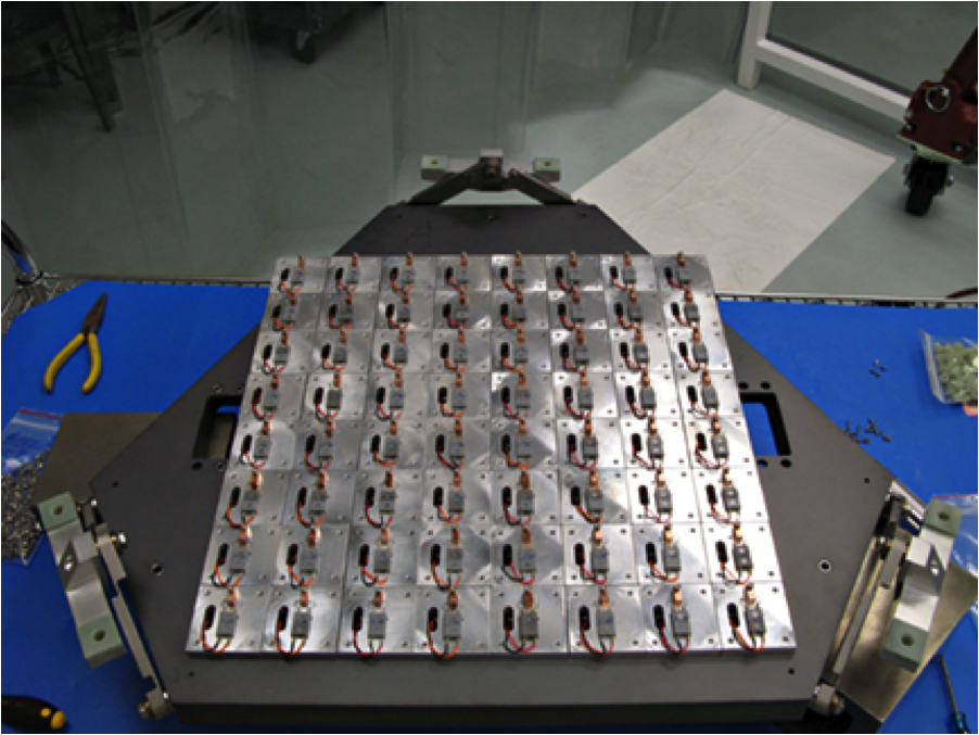 64 detector simulators with resistor and temperature sensors mounted on the focal plate